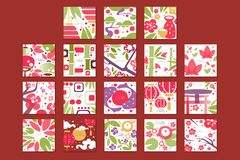 Cartes avec le modèle asiatique traditionnel, conception originale, illustrations colorées de vecteur de texture décorative de ca illustration de vecteur