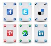 Cartes avec le symbole des réseaux sociaux Images libres de droits