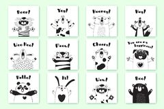 Cartes avec les animaux drôles et les exclamations Tiger Pig Bear Fox Sheep Cat Pug Panda Rabbit pour la conception des enfants illustration libre de droits