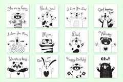 Cartes avec les animaux drôles et les exclamations Tiger Pig Bear Fox Sheep Cat Pug Panda Rabbit pour la conception des enfants Photos libres de droits