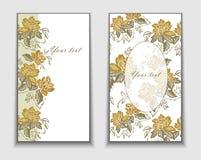 Cartes avec les fleurs jaunes Images libres de droits