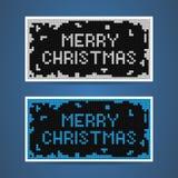 Cartes blanches et bleues de vecteur de Noël de tetris Photos libres de droits
