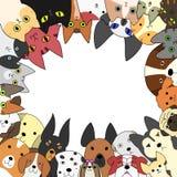 Cartões bonitos dos cães e gato Imagens de Stock Royalty Free
