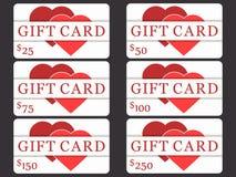 Cartes cadeaux con los corazones Diseño material Corte el papel Las tarjetas costaron en 25, 50, 75 100, 150, 250 Vector ilustración del vector