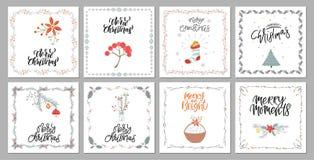 Cartes cadeaux de la Feliz Navidad de la colección y sistema lindos de elementos stock de ilustración