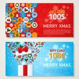 Cartes cadeaux de Noël avec la conception plate d'icônes illustration stock