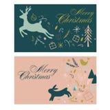 Cartes cadeaux para la Navidad con los ciervos y el pelo Foto de archivo libre de regalías
