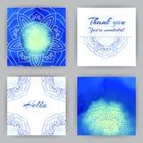 Cartes carrées avec Lotus bleu Photographie stock