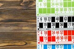Cartes colorées pour le bingo-test de salaire Image libre de droits
