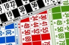 Cartes colorées pour le bingo-test de salaire Photos libres de droits