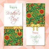 Cartões com o ornamento floral de Hohloma Fotografia de Stock