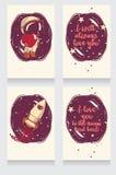 Cartes cosmiques tirées par la main mignonnes pour le jour de valentine Images libres de droits