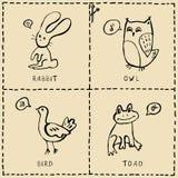 Cartes coupées avec les animaux mignons illustration de vecteur