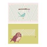 Cartes créatives avec des oiseaux Image libre de droits