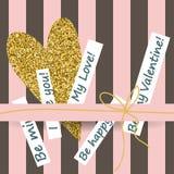 Cartes créatives de jour de valentines dans le rose, l'or et le blanc illustration stock