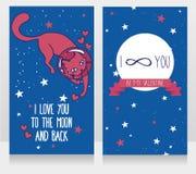 Cartões cósmicos para o amor com gato-astronauta da garatuja e fundo das estrelas Imagens de Stock