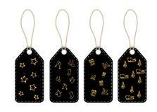 Cartes d'étiquettes avec la lanière et les symboles de Noël illustration libre de droits