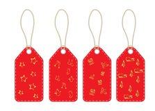 Cartes d'étiquettes avec la lanière et les symboles de Noël illustration stock