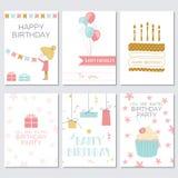 Cartes d'anniversaire, de salutation et d'invitation avec des gâteaux, des ballons, des cadeaux et la fille Photographie stock libre de droits