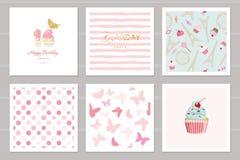 Cartes d'anniversaire réglées pour des adolescentes Y compris les modèles sans couture dans le rose en pastel Bonbon 16, papillon illustration stock
