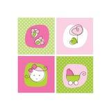 Cartes d'annonce d'arrivée de bébé Photos stock