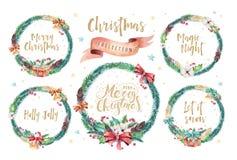 Cartes d'aquarelle de Joyeux Noël avec les éléments floraux Affiches de lettrage de bonne année Fleur et branche de Noël d'hiver Images stock