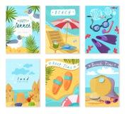 Cartes d'articles de vacances d'été illustration de vecteur