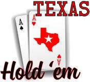 Cartes d'as de tisonnier de fin de support de Texas Hold Images libres de droits