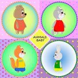 Cartes d'emblème avec les animaux mignons de bande dessinée Photo libre de droits