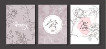 Cartes d'invitation de mariage avec la texture de marbre et les roses tirées par la main L'affiche florale, invitent Carte de voe Photographie stock
