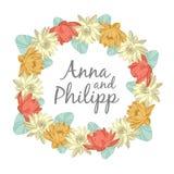 Cartes d'invitation de mariage avec les éléments floraux Image libre de droits