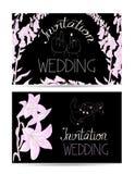 Cartes d'invitation de mariage avec les mains et les fleurs tirées par la main de jeunes mariés Images libres de droits