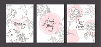 Cartes d'invitation de mariage avec les roses tirées par la main L'affiche florale, invitent Dirigez la carte de voeux décorative Photo stock