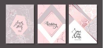 Cartes d'invitation de mariage avec les roses tirées par la main L'affiche florale, invitent Dirigez la carte de voeux décorative Photo libre de droits