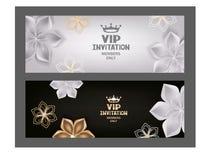 Cartes d'invitation de VIP avec les fleurs et la couronne Photos libres de droits