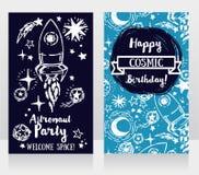 Cartes d'invitation pour la fête d'anniversaire du ` s de garçon Photo stock