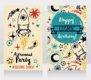 Cartes d'invitation pour la fête d'anniversaire du ` s de garçon Photographie stock