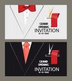 Cartes d'ouverture officielle avec le costume de l'homme sur le fond Illustration plate de vecteur Images stock