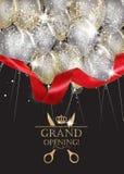 Cartes d'ouverture officielle avec les ballons à air transparents, le ruban rouge et les confettis Photos stock