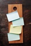 Cartes d'une recette de blanc (ou liste d'achats) Photo stock