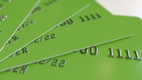 Cartes de banque en plastique vertes, rendu 3D Images stock