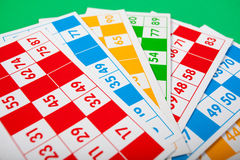 Cartes de bingo-test dans diverses couleurs Photographie stock
