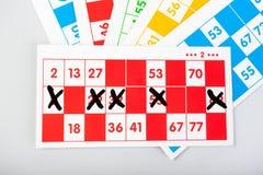 Cartes de bingo-test dans diverses couleurs Photo libre de droits