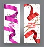 Cartes de cérémonie de coupe de ruban avec le fond rose de ruban et de bokeh Photographie stock libre de droits