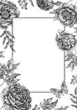 Cartes de calibres d'invitations de mariage avec des pivoines de fleurs, roses illustration de vecteur