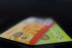 Cartes de crédit d'isolement Photographie stock libre de droits