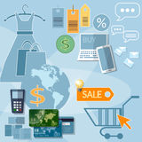 Cartes de crédit de remises de vente de concept de commerce électronique d'achats d'Internet Photographie stock libre de droits