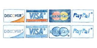 Cartes de crédit tirées par la main Images libres de droits
