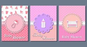 Cartes de douche de bébé Illustration de vecteur Photos stock