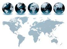 Cartes de globe du monde Photographie stock